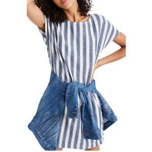 Madewell Stripe-Play Button-Back Dress Medium